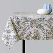 Jinchan Linen Textured Tablecloth Jacobean Floral Printed Table Cloth For Kitche