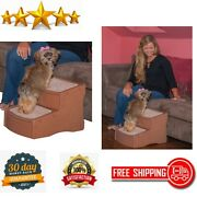 Pet Stairs 2 Step Cats Dogs Portable Removable Washable Carpet Tread Light Cocoa