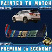 Painted To Match Rear Upper Bumper Cover For 2017-2019 Toyota Highlander W/ Park