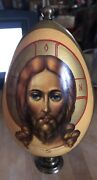 """Russian Icon On Large Wood Egg Hand Painted And Signed Twice On Brass Base 8"""""""