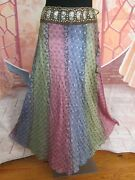 Boston Proper Multicolored Womenand039s Boho Silk Skirt With Sequins Made In India M
