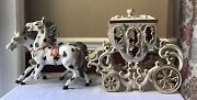 """Rare Xl Capodimonte Porcelain Horse Drawn Carriage Coach, Made In Italy, 30"""" L"""