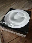 Lenox Park City Carved 4 Pc Place Setting New Nib Dinner Salad Plate Bowl Cup