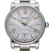 4810 Date Automatic 114852 Ss Silver Roman Dial Menand039s Used [e1009]