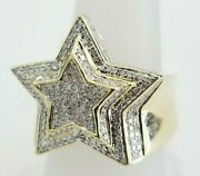 Mens Super Star 3d Real Diamond Pinky Ring Statement 10k Yellow Gold