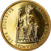 [902738] Coin Belgium Charlemagne 50 Ecu 1989 Ms Gold Km174
