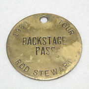 Rare Vintage 1980and039s Tour Sir Rod Stewart 2 Coin/medallion Backstage Pass 25g