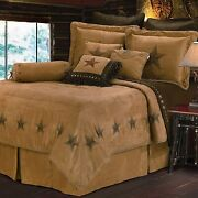 Hiend Accents Luxury Star Western Faux Suede Bedding Comforter Set King Tan T