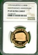 Mauritius 1978 1000r Ngc Pf 69 Ultra Cameo Independence Anniv