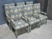 6 Parsons Style Dining Arm Chairs Anglo-indian Style Tapestry Upholstery Mint
