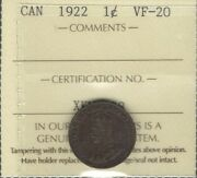 1922 Small Cent Iccs Vf-20 Rare Date 3rd Lowest Minted Key George V Canada Penny