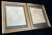 A Pair Of Antique Framed Engravings Maps Of Western And Eastern Hemisphere 1800's