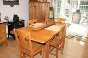 Antique Hoosier Kitchen Table And Cabinet