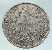 1875 A France Hercules Group Antique Vintage Silver 5 Franc French Coin I86343