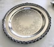 """Vintage Wilcox S.p.co. Silver Plate Serving Tray 13-3/4"""" Spring Garden Pattern"""