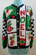 The Eagle's Eye Vintage Christmas Knit Sweater Women's L Noel Cat Floral 1991