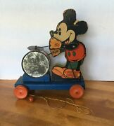 Very Rare 1 Yr 1937 Vintage Fisher Price Disney Mickey Mouse Drummer Pull Toy