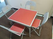 Vintage 70s Kids Table And 4 Chairs Set Kitten Graphic Folding Card 1970s Retro