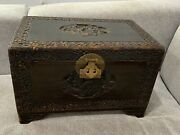 Vintage Antique Chinese Wood Trunk / Box W/ Carved Figured And Flowers Decoration