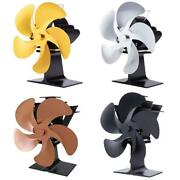 5 Blade Heat Powered Stove Fan For Wood Log Burner Heater Fireplace Increases