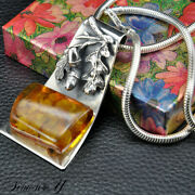 Vintage Sterling Silver Baltic Amber Pendant Necklace Italy Snake Chain 20