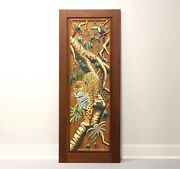 Hand Carved And Painted Honduras Mahogany Door / Panel - Jaguar And Toucans