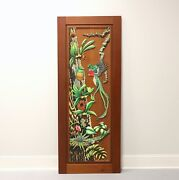Hand Carved And Painted Honduras Mahogany Door / Panel - Tropical Foliage And Birds
