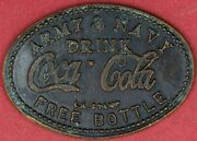 Army And Navy Drink Coca Cola L.a Stamp Free Bottle
