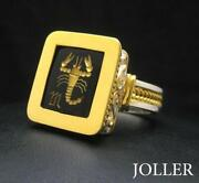Antique Signet Ring Scorpio 18kt Solid Gold And Silver 925 Onyx By Joller Jewels
