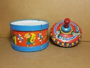 Vintage Ohio Art Company Snare Drum And Spinning Top Tin Kids World's Best Toys