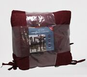Whitley Willows Reversible 2 Pack Plush Chenille Chair Pads Rhubarb Cushions New