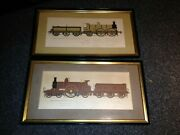 2 Framed Antique Prints Of Trains From The 19th Century