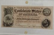 T-64. 1864 500 Confederate Note Au58. Really Nice Color.