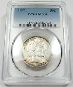 1897-p Pcgs Ms64 Mint State Silver Barber Half Dollar 50c Us Coin Item 25895a