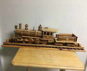 Large Superb Signed Wood Locomotive Train On Track Sculpture Model Artist Signed