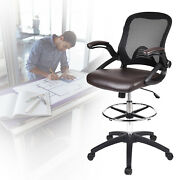 Drafting Stool Chair Adjustable Height With Flip-up Arms