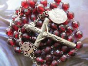 Long 1800s Antique Red Garnet Glass Beads Rosary-in St Silver/lourdes Medal/caps