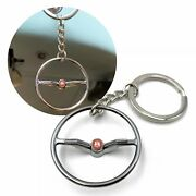 1964-65 Vw Beetle Chrome Dished Steering Wheel Key Chain - Red Wolfsburg Button