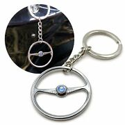 1949-55 Vw Beetle Chrome Batwing Steering Wheel Key Chain - Sun And Moon Button