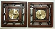 Vintage Mid Century Modern Welby Square Wall Clock Set Of 2