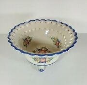 Rccl Portugal Hand Painted Footed Bowl W/ Heart Lattice And Floral Pattern