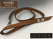 Hermes Leash For Dogs Kelly Brown Leather Genuine France From Japan Excellent