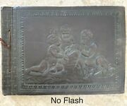 Antique Wwii Named Officers Leather Scrapbook Photo Album Military Cherub Cover