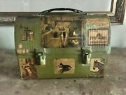Vintage American Thermos Bottle Co. Army Green Dome Top Decorated Lunch Box