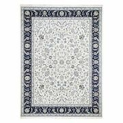 9and039x11and03910 Wool Silk 250 Kpsi Ivory All Over Design Nain Handknotted Rug G59415