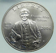 2004 United States Thomas Edison Inventor Of Light Bulb Silver Coin Icg I86678