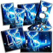 Glowing Whitetail Deer Fantasy Forest Light Switch Outlet Wall Plates Room Decor