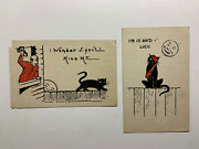 Vintage Black Cat Postcards Halloween Style With Black Cat And Moon 2