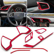 6x Red Dashboard Panel + Air Vent Outlet Frame Cover Combo For Honda Civic 16-19
