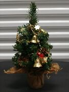 Vintage Artificial Christmas Tree Pre Decorated Gold Beaded Table Top 15